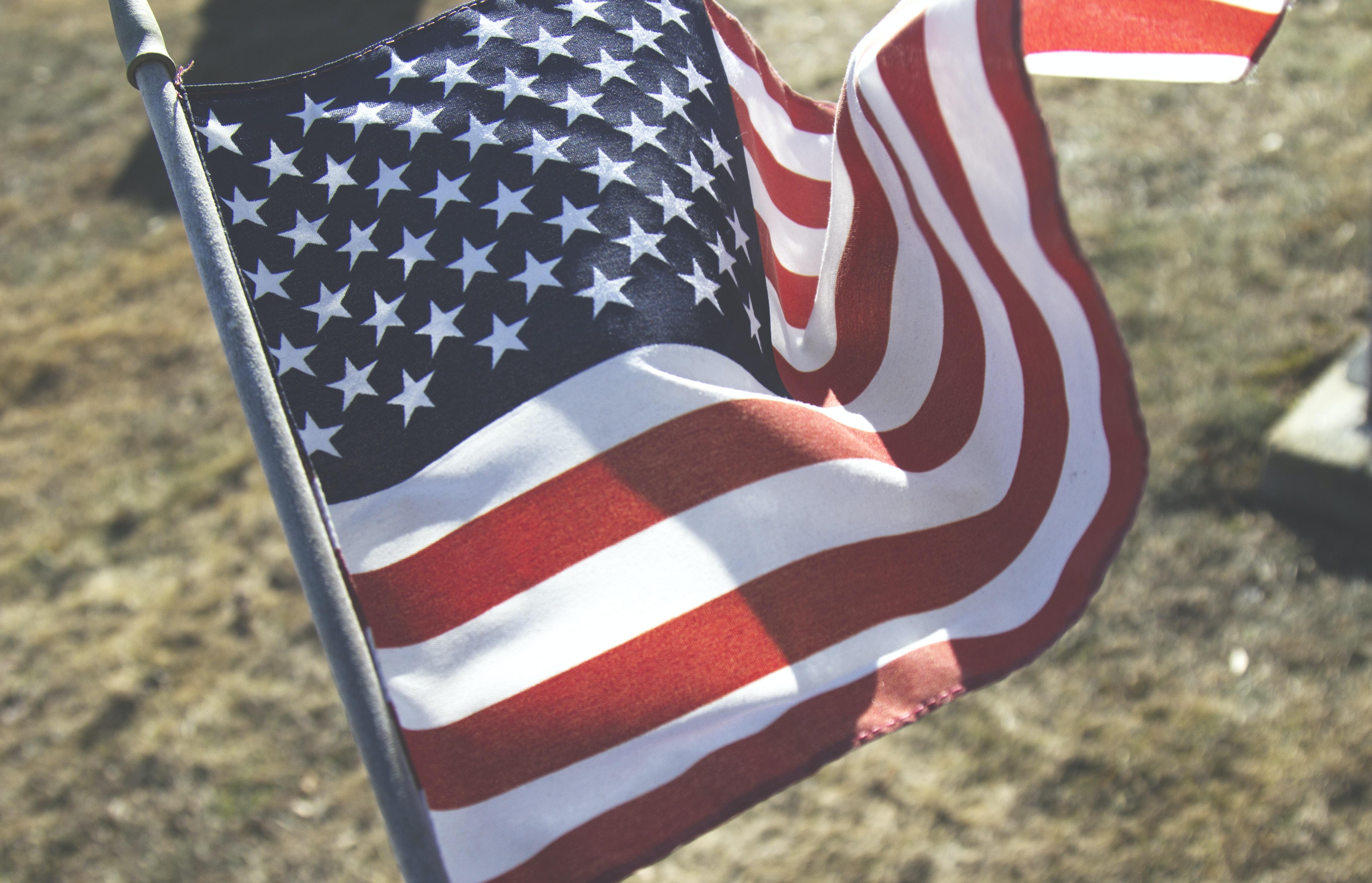 flag of USA with gray pole