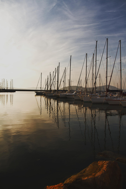 aligned sail boats near dock