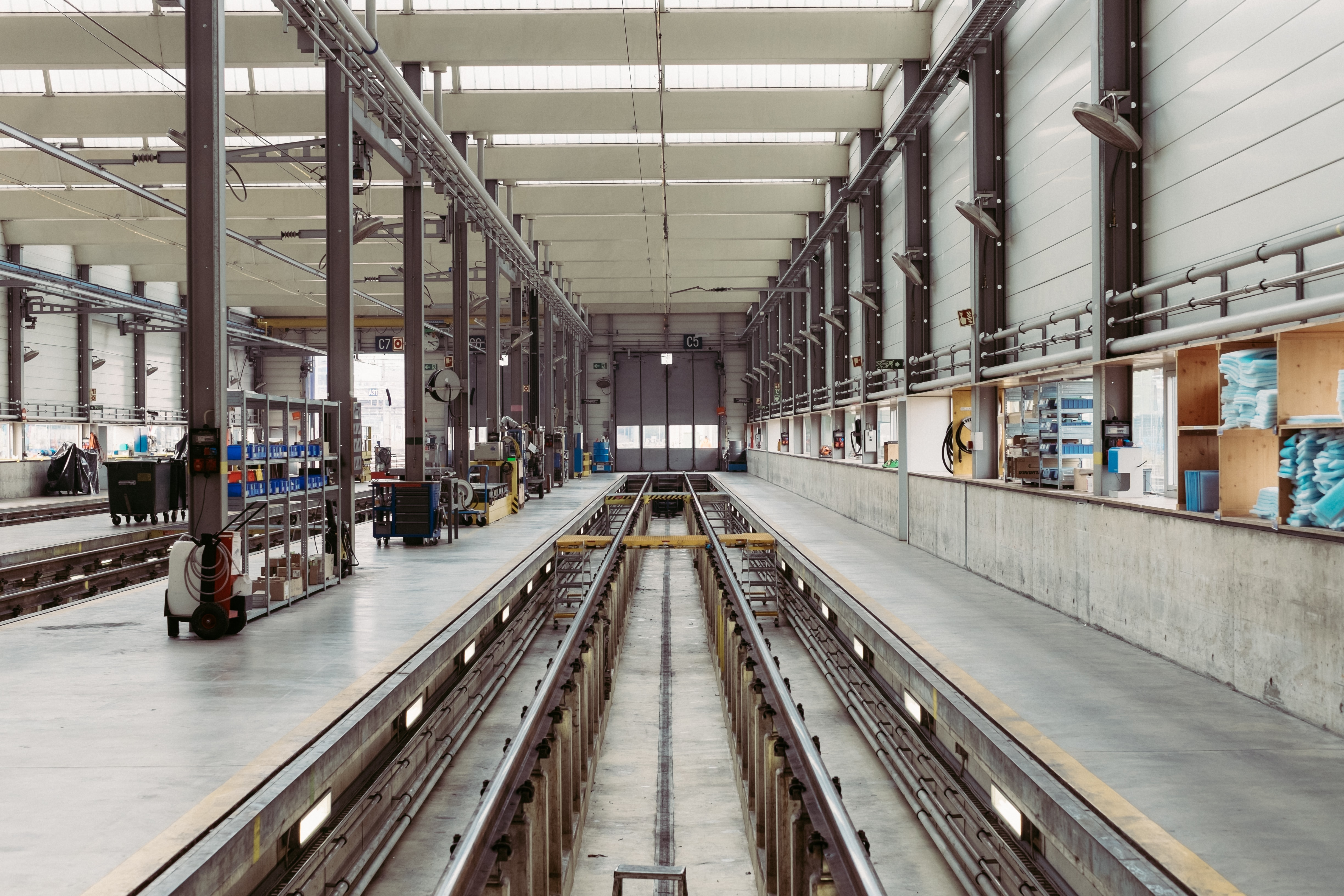 The interior of a large workshop