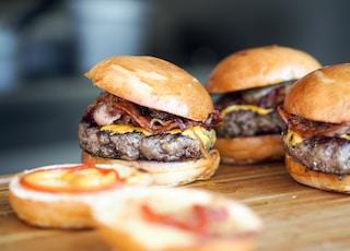 low-angle of burgers