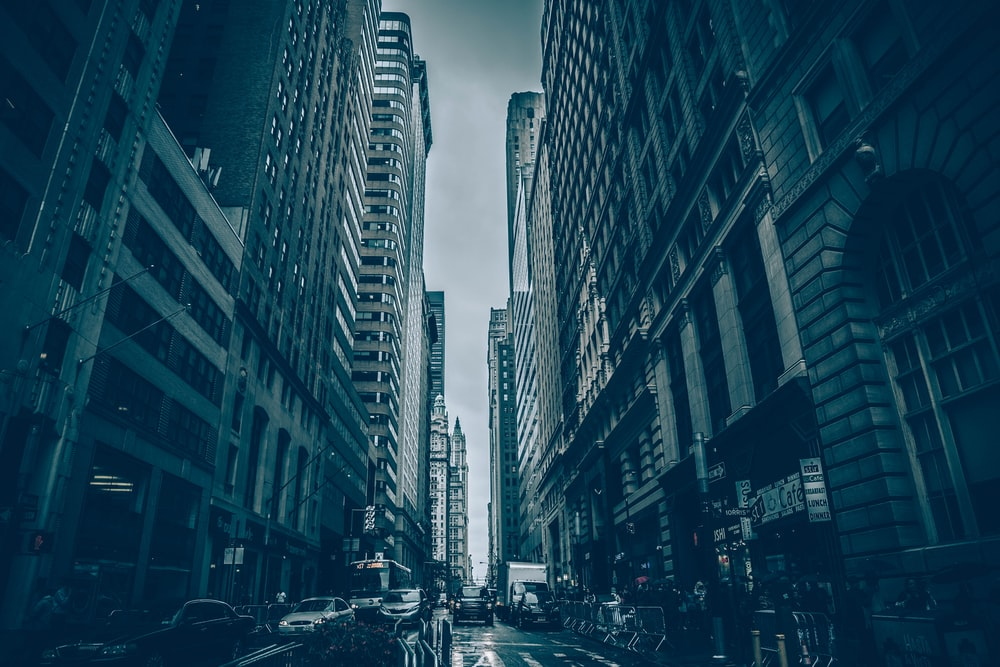 A Gloomy Shot Of Narrow City Street On Cloudy Day
