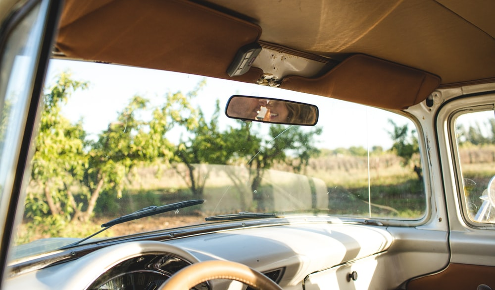 black rear view mirror