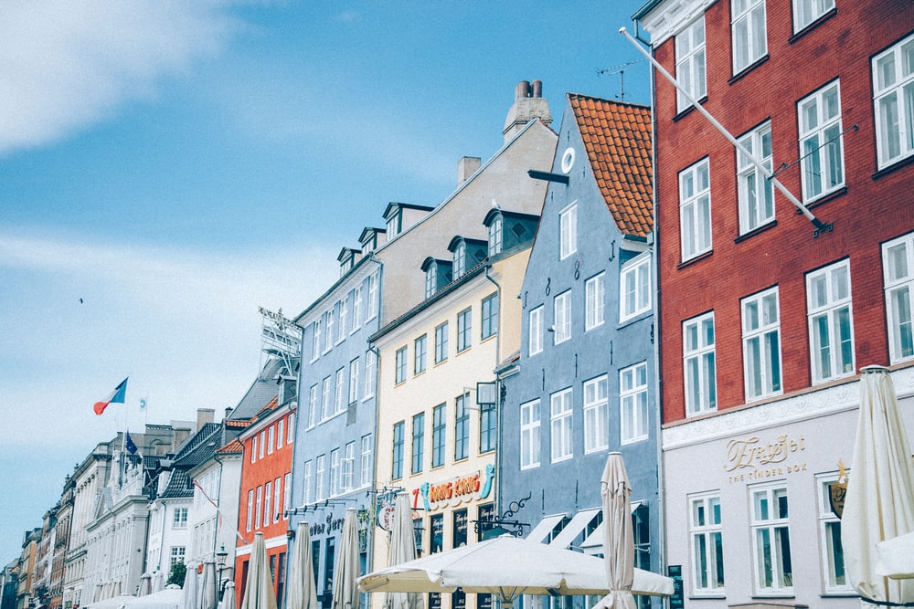 blue and beige houses