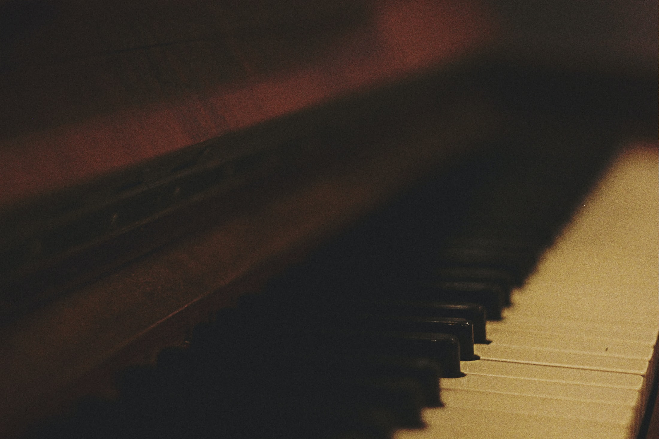 A fuzzy shot of a piano keyboard