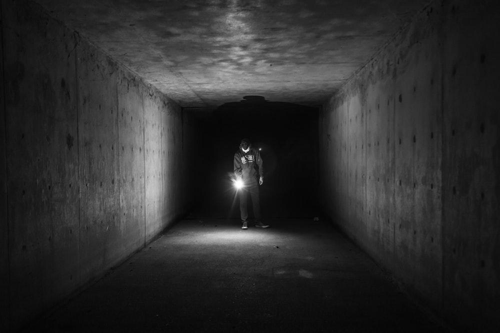 man inside tunnel