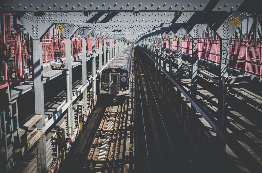 aerial photography of train