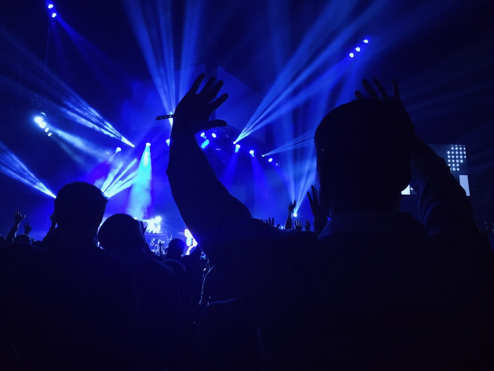 group of people standing inside dome watching concert