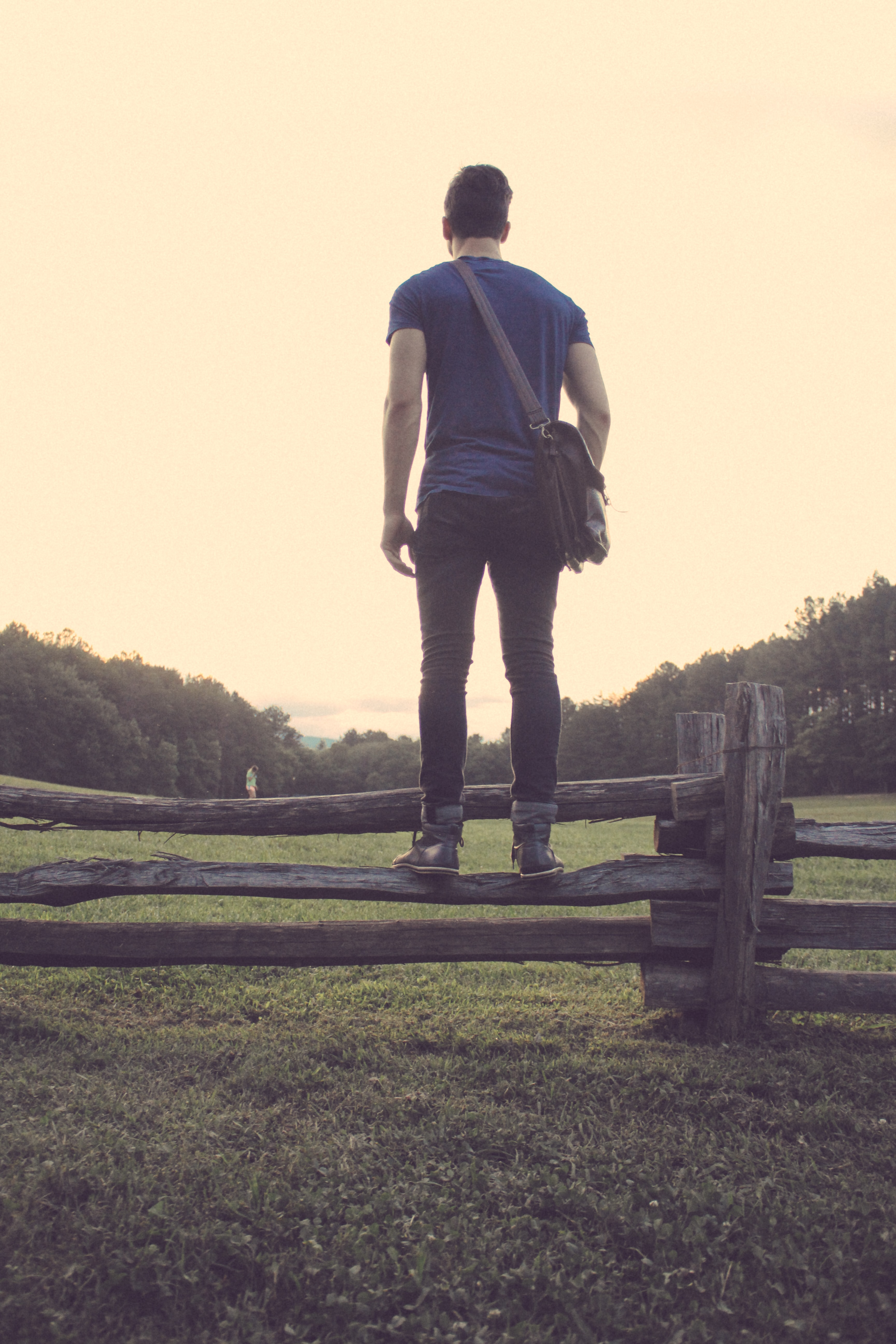 A person standing on a wooden fence, looking towards a meadow.
