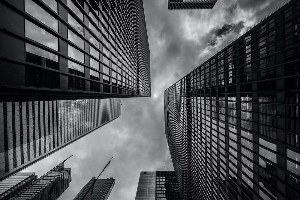 worm's-eye view of buildings