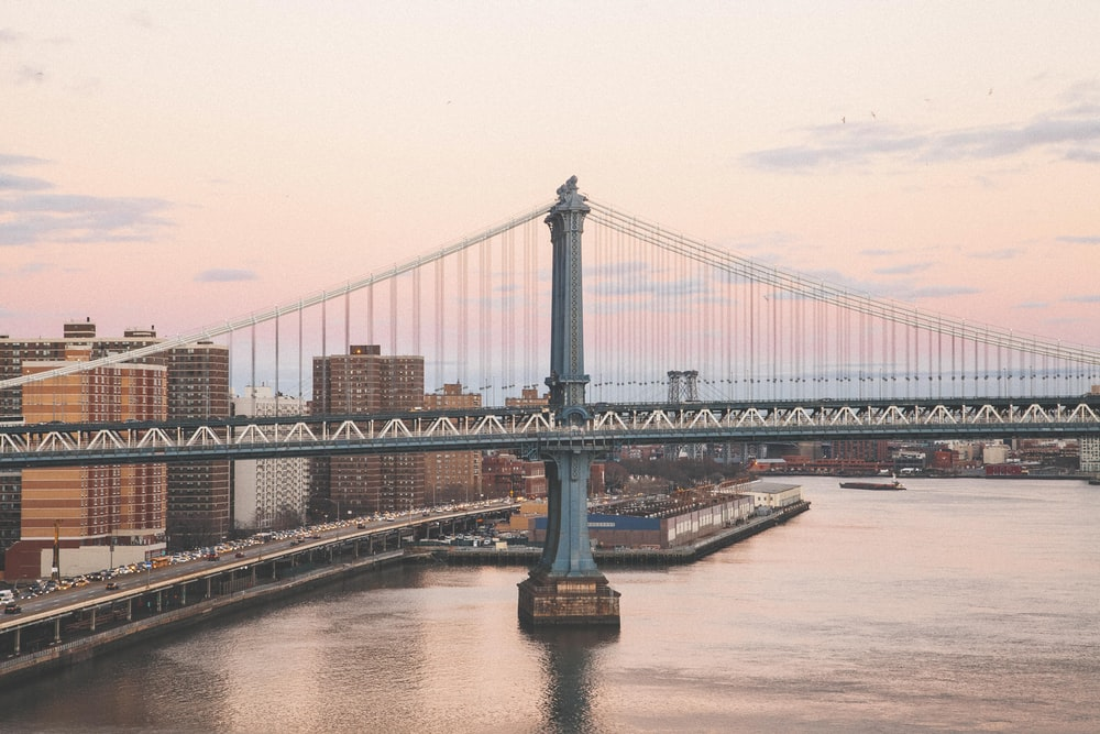 landscape photography of black bridge