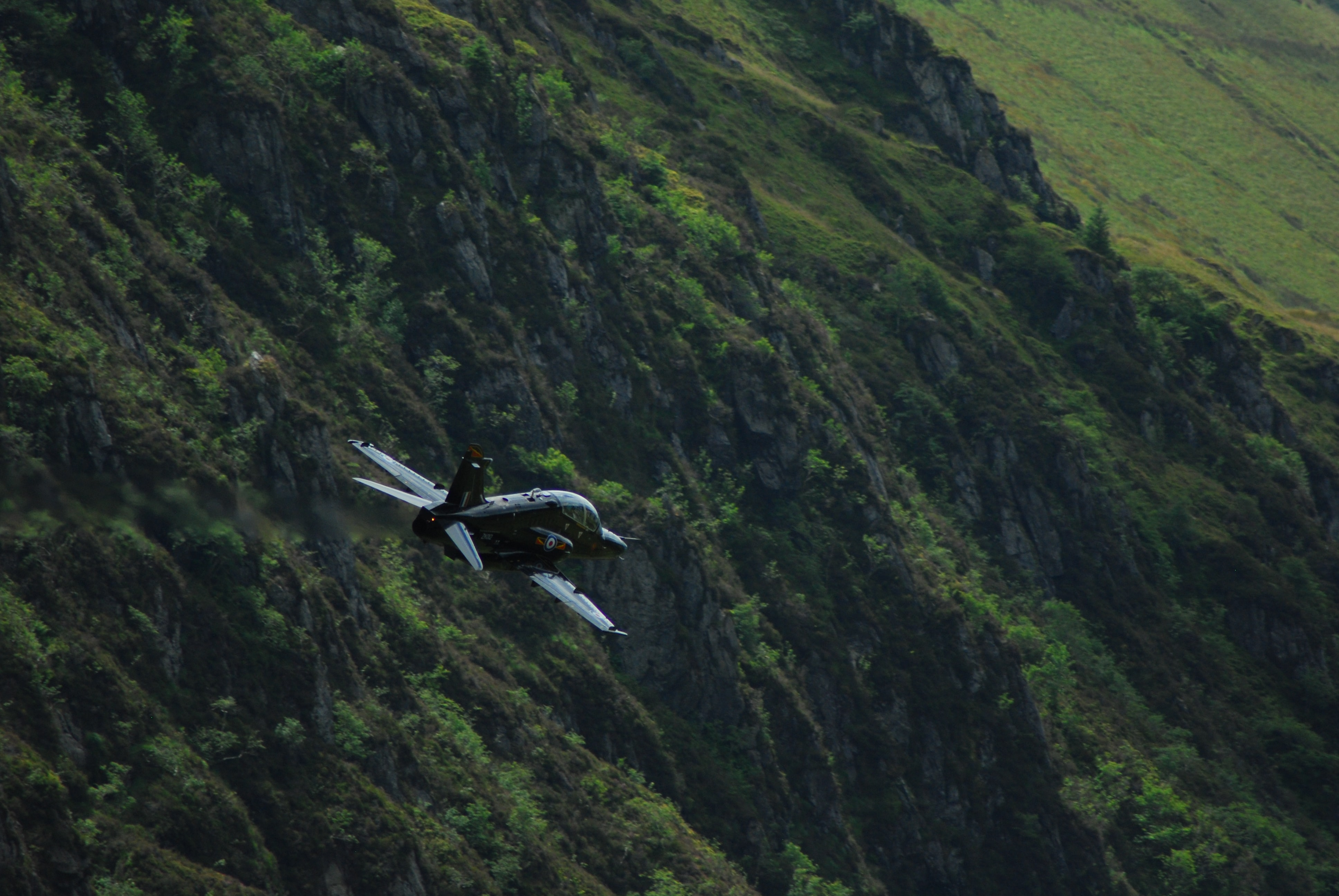 Airplane flies along the side of a lush green hillside