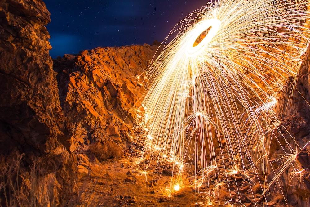 steel wool photography of light