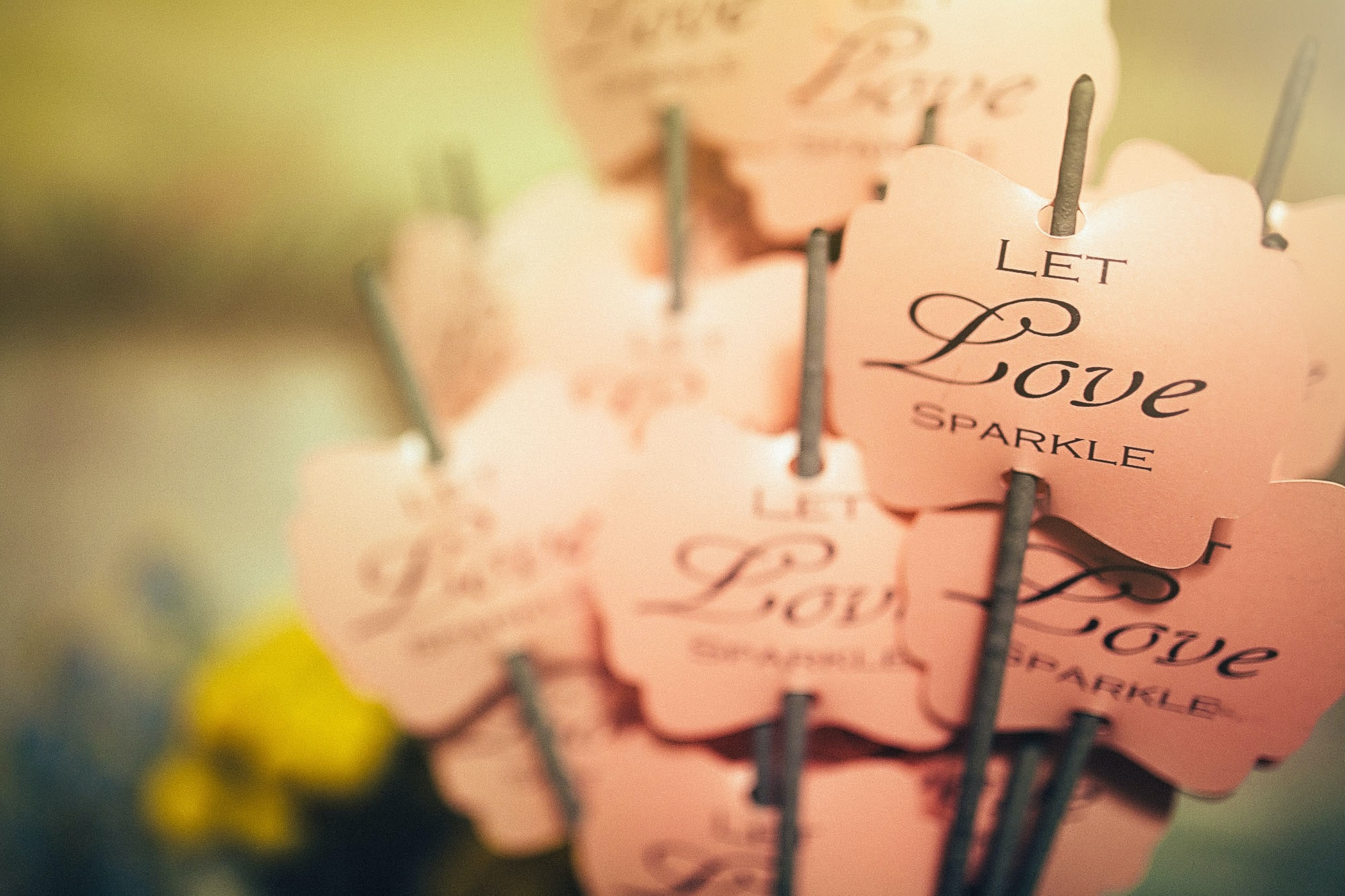 "Sticks holding up pink pieces of paper that read ""Let Love Sparkle."""