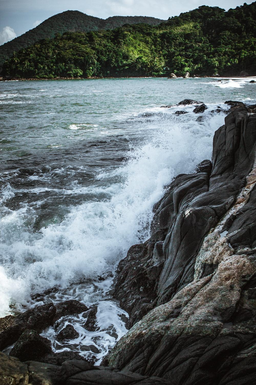sea waves on rocky terrain