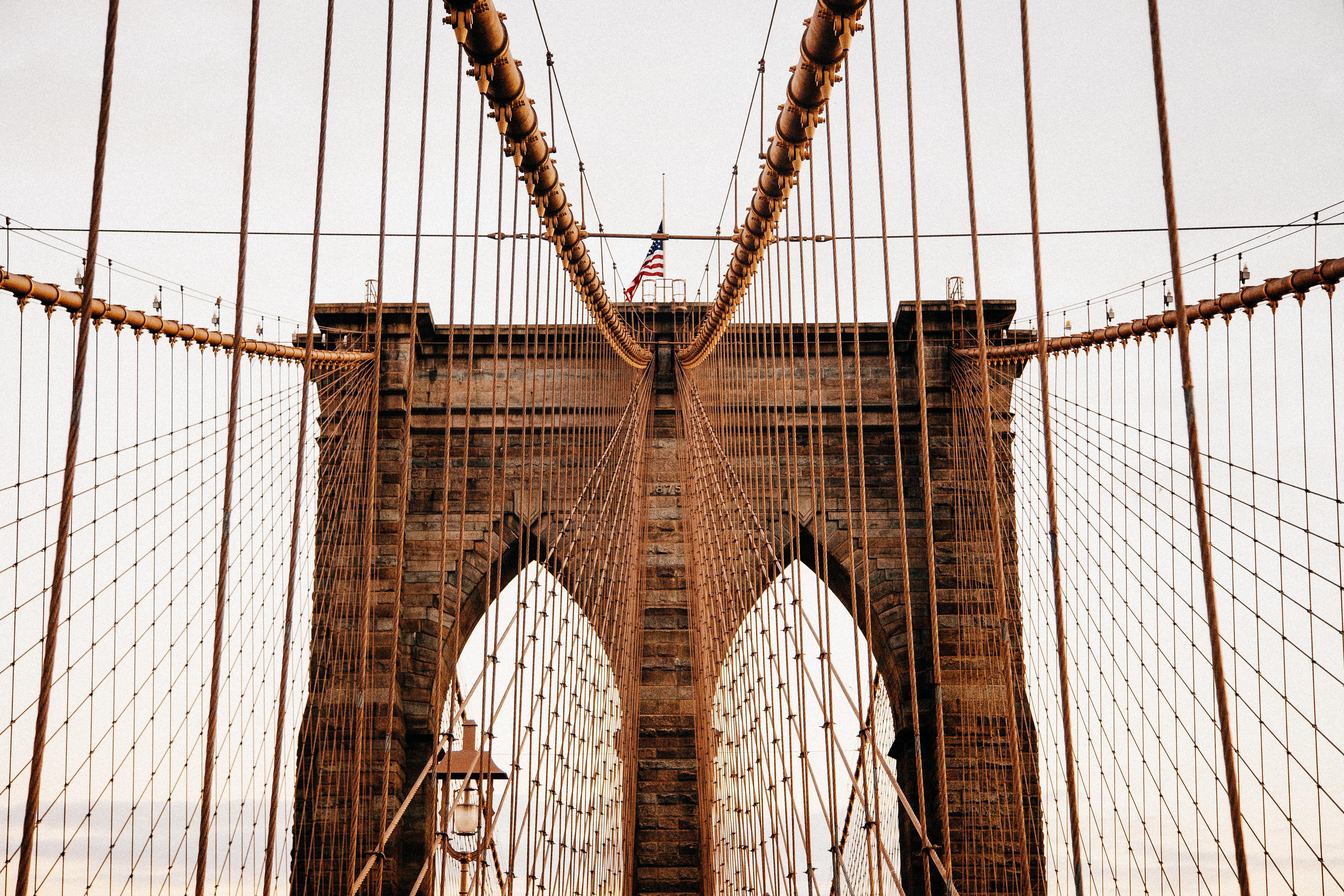 A look up at one of the towers on New York City's Brooklyn Bridge