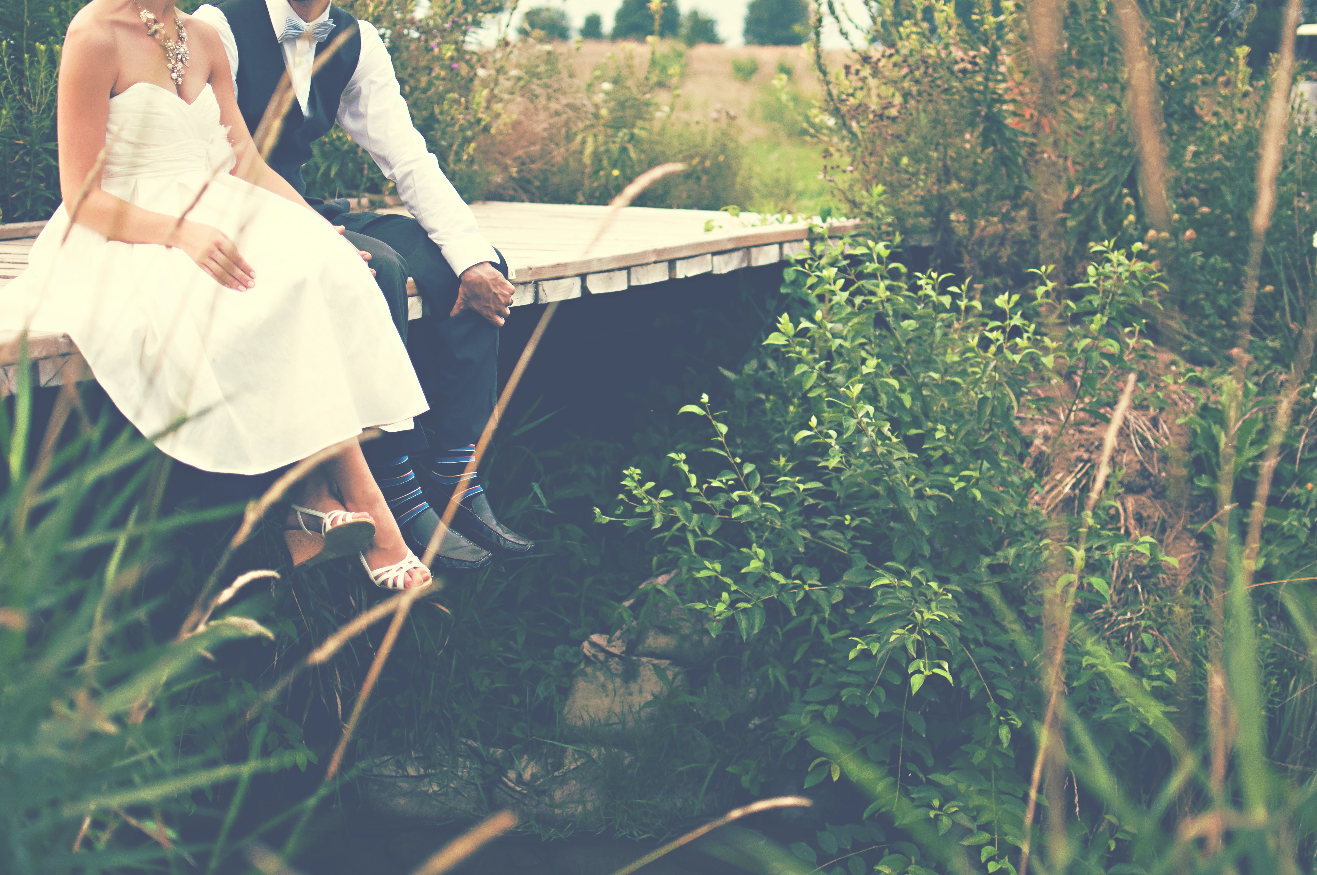 A bridal couple sitting on a wooden footbridge surrounded by green grasses and bushes