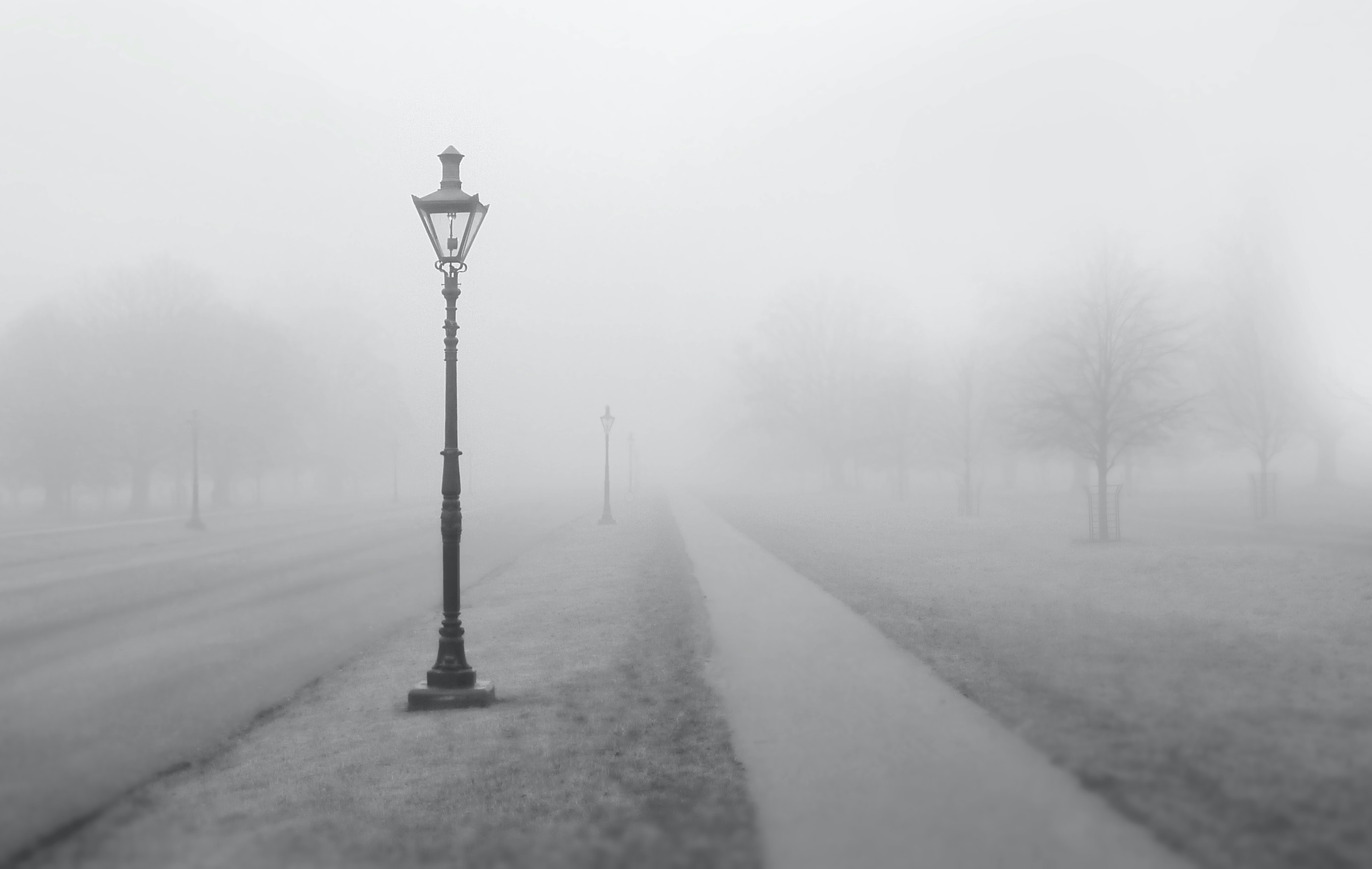 Foggy view of a walking path and streetlight in the winter