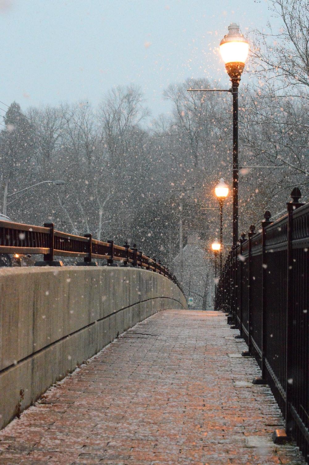photo of turned on street lights near railing