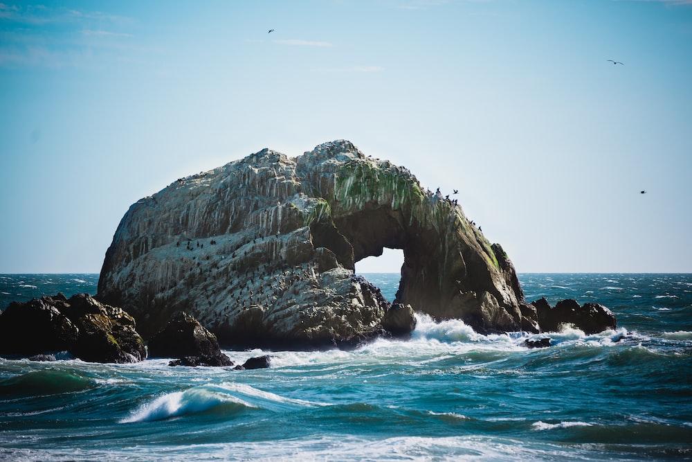 photo of sea wave crashing into boulder