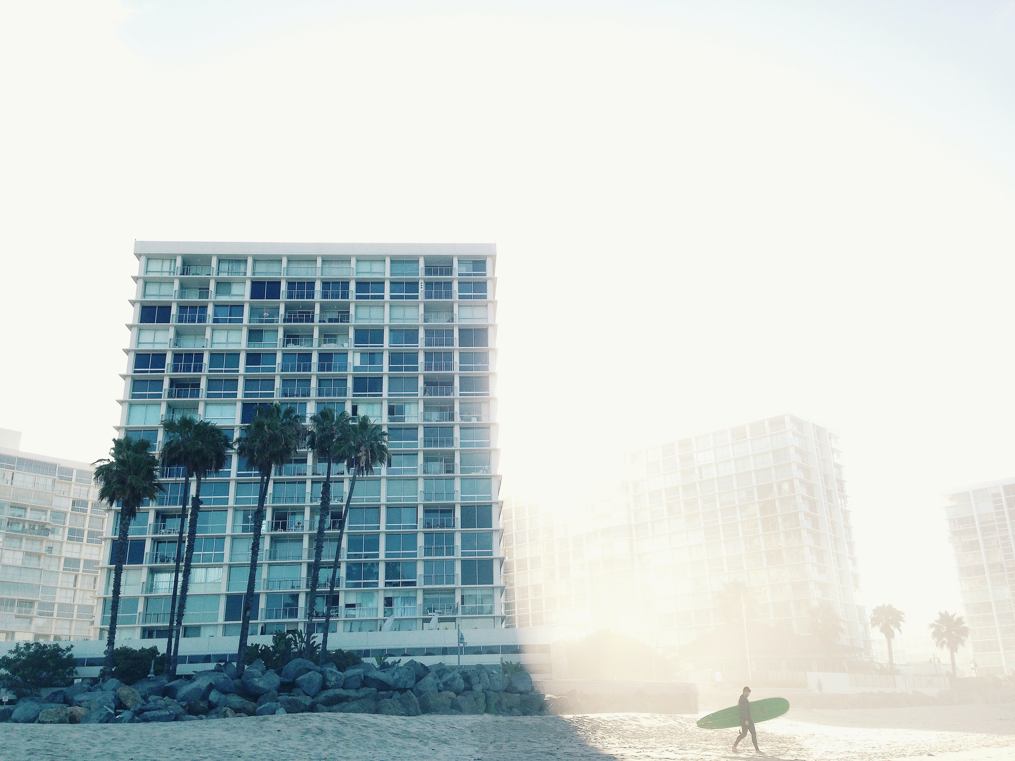 View of highrise beach apartments at Coronado featuring the foggy sky and palm tree