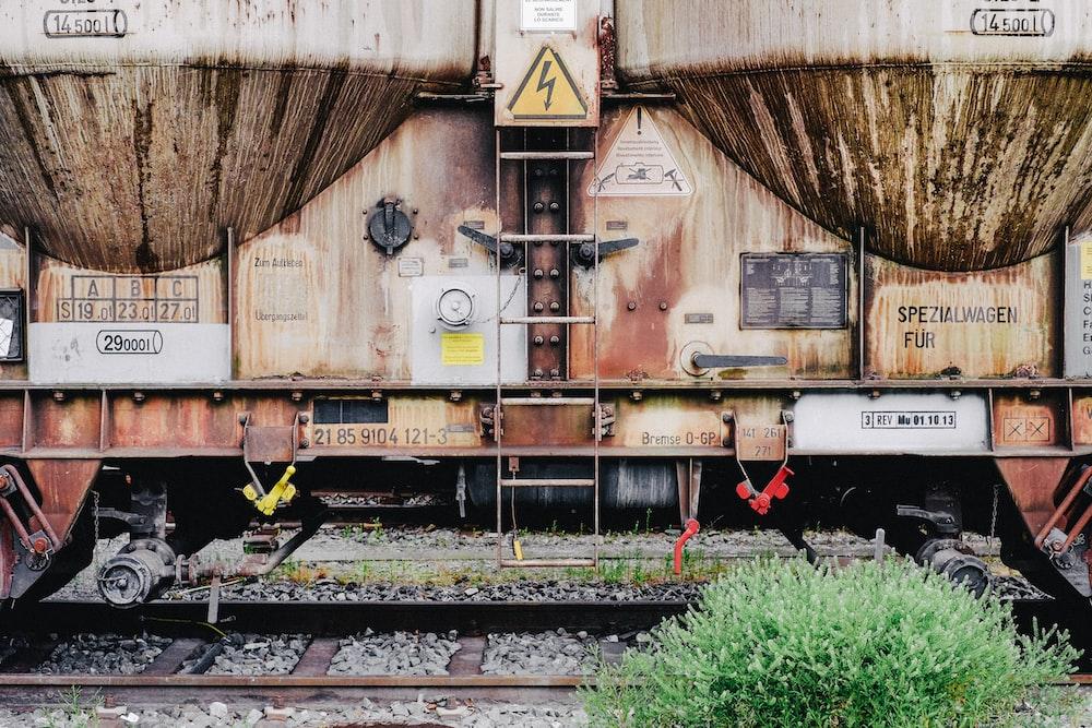 orange train on trailway