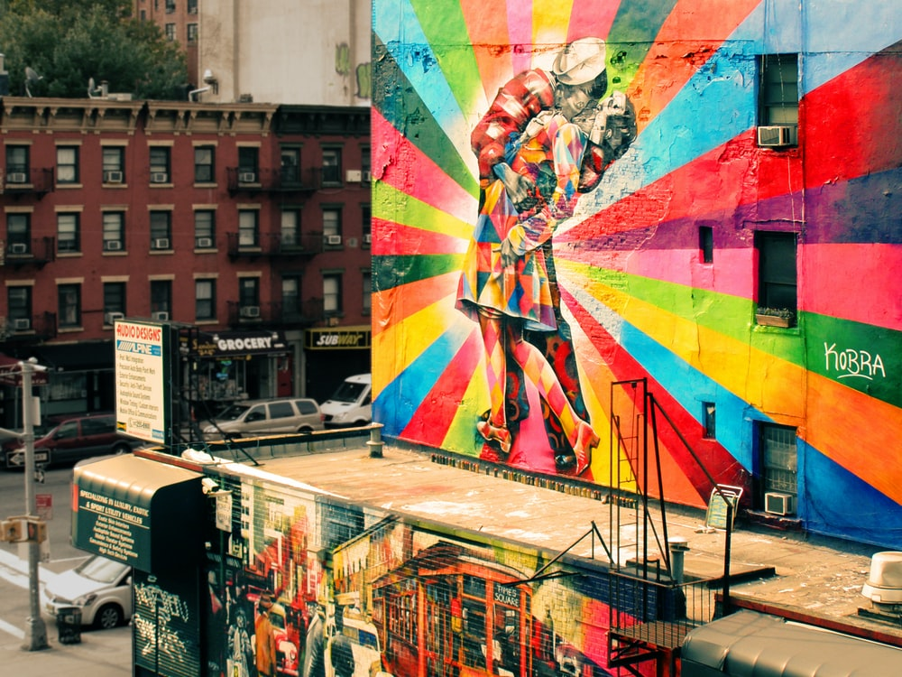 A colorful wall mural.