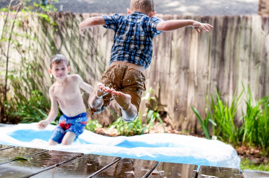 Children backyard swimming