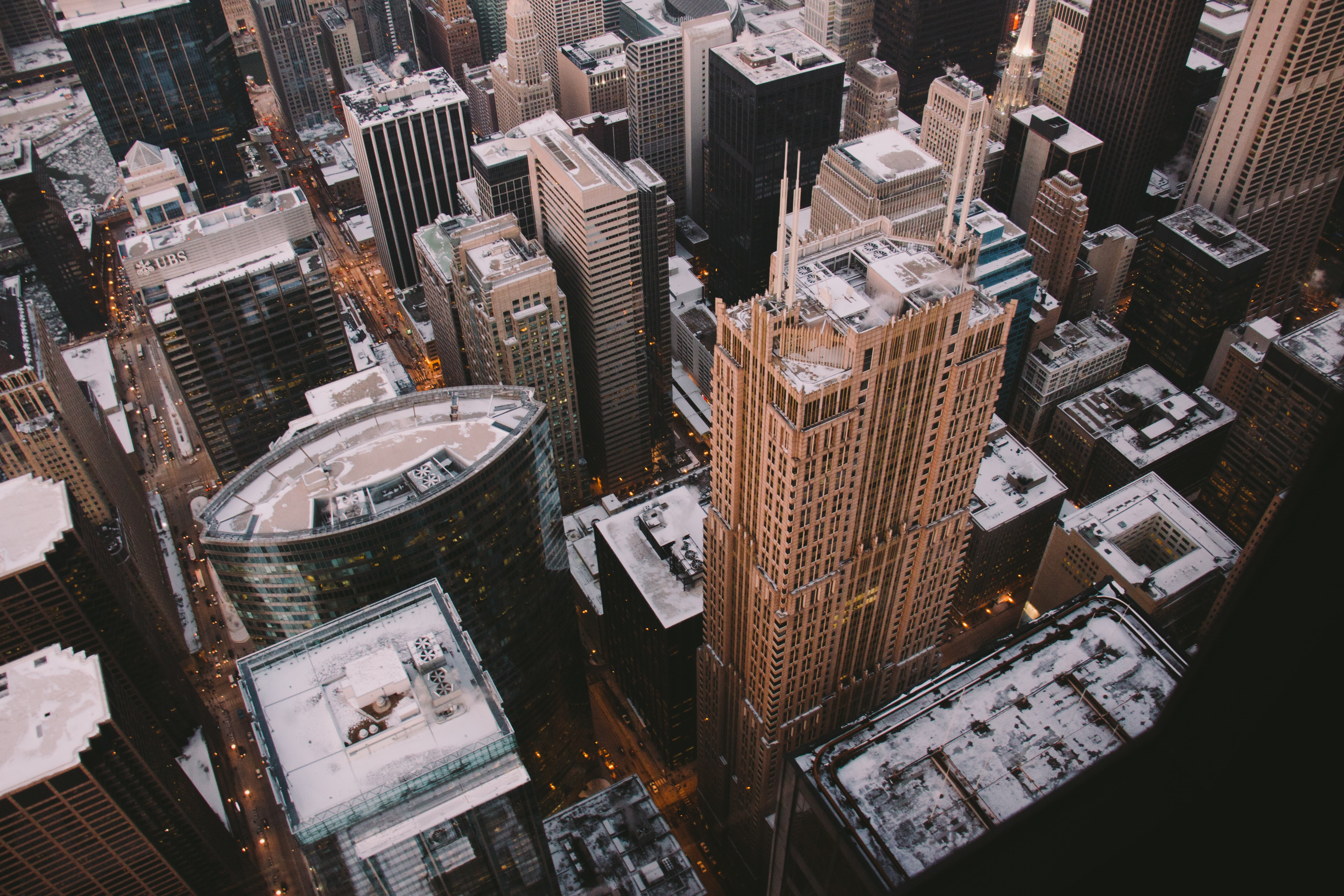 A high shot of high-rises in a city