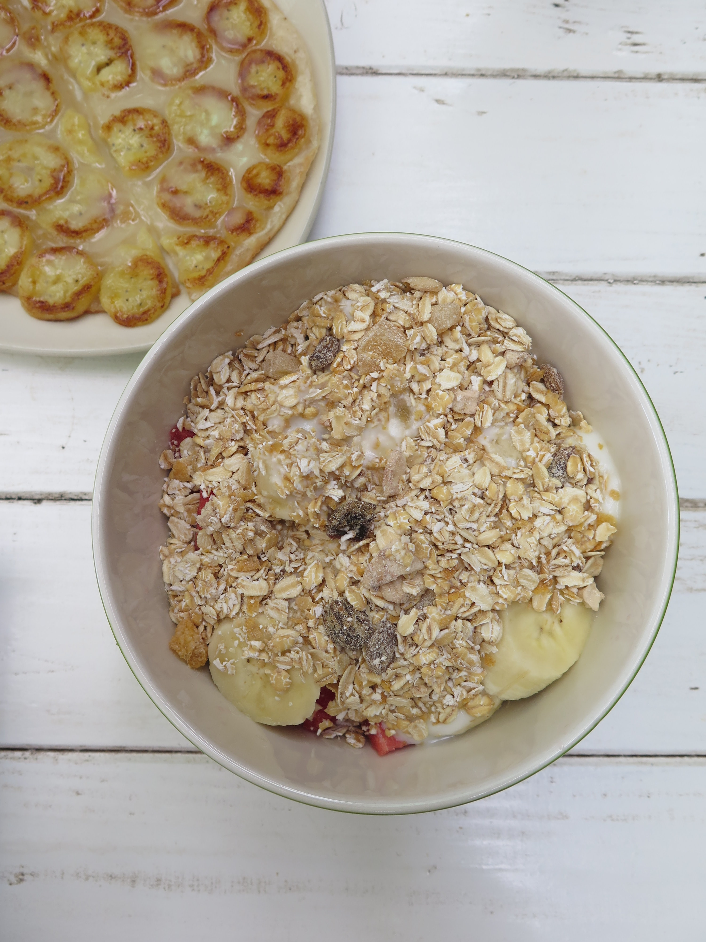 bowl of fruits topping with cereal