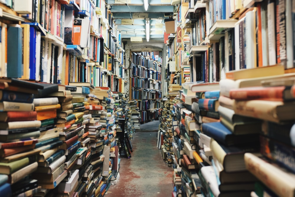 pathway in the middle of piled books