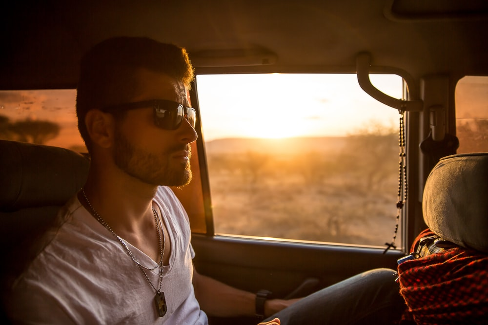man inside vehicle