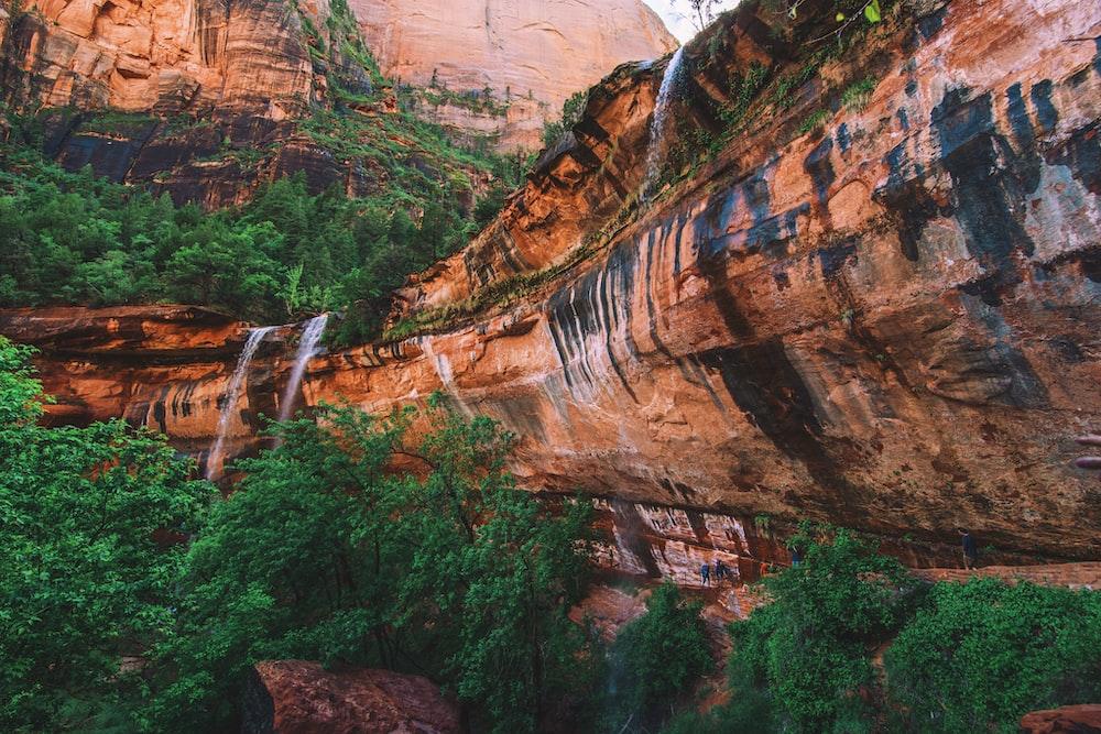 waterfalls from rock mountain