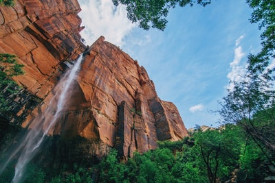 Sandstone cliff with a waterfall