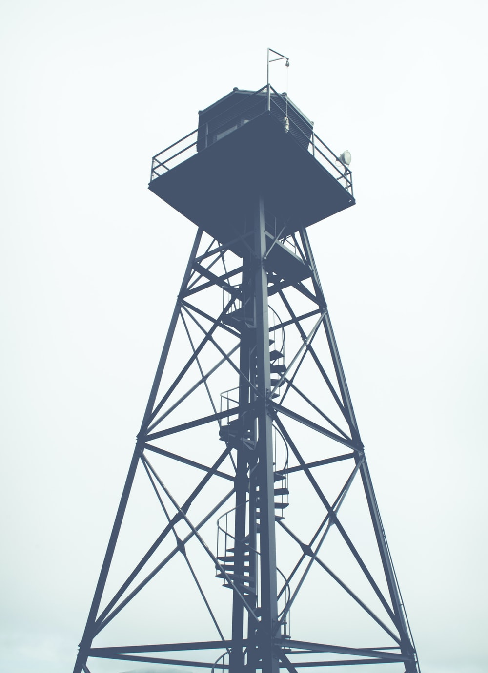 black steel tower photography