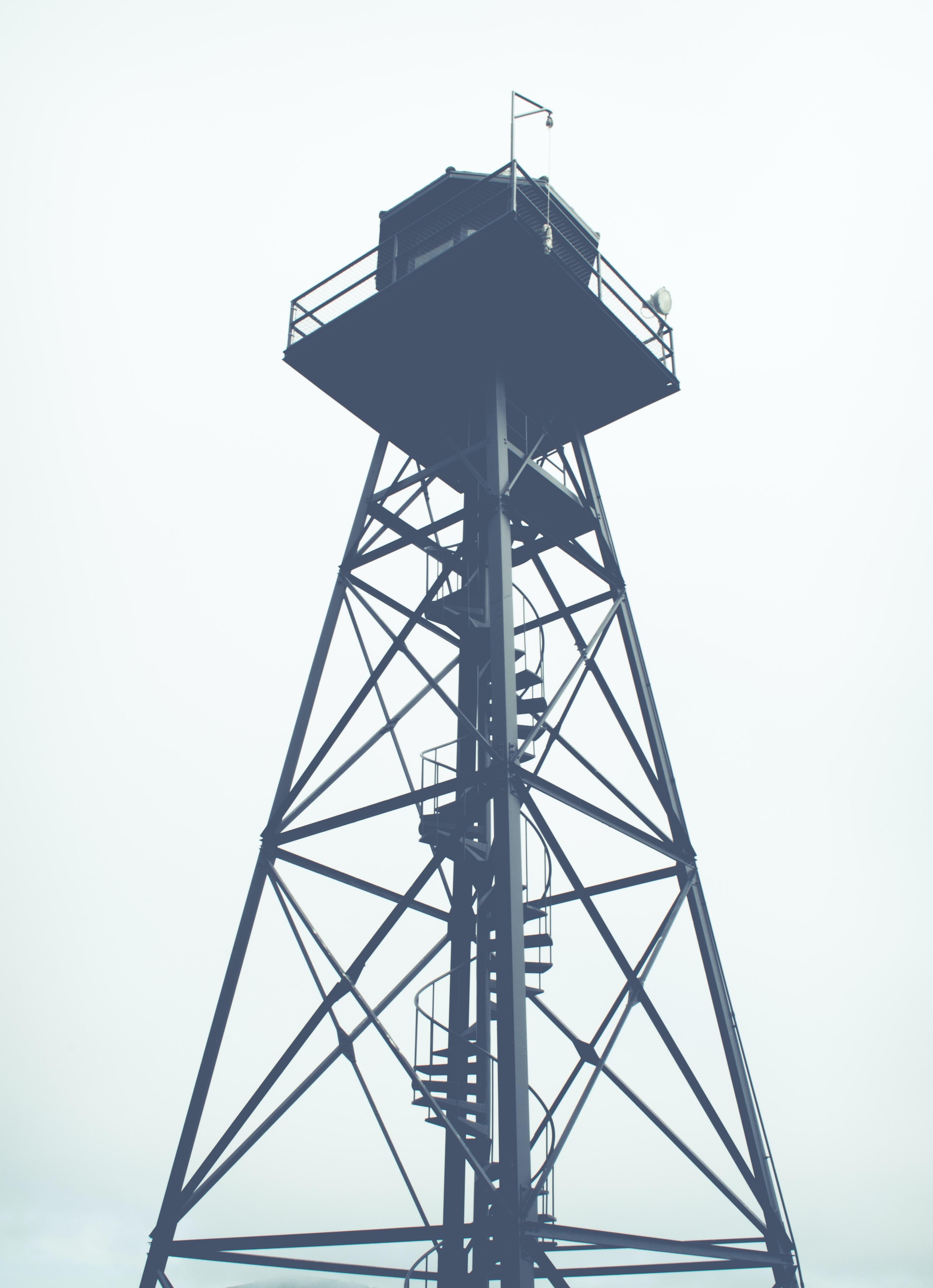 a prison guard watchtower in Alcatraz Island