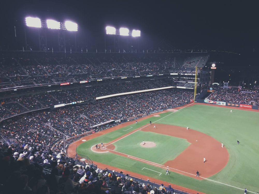 baseball field during night time
