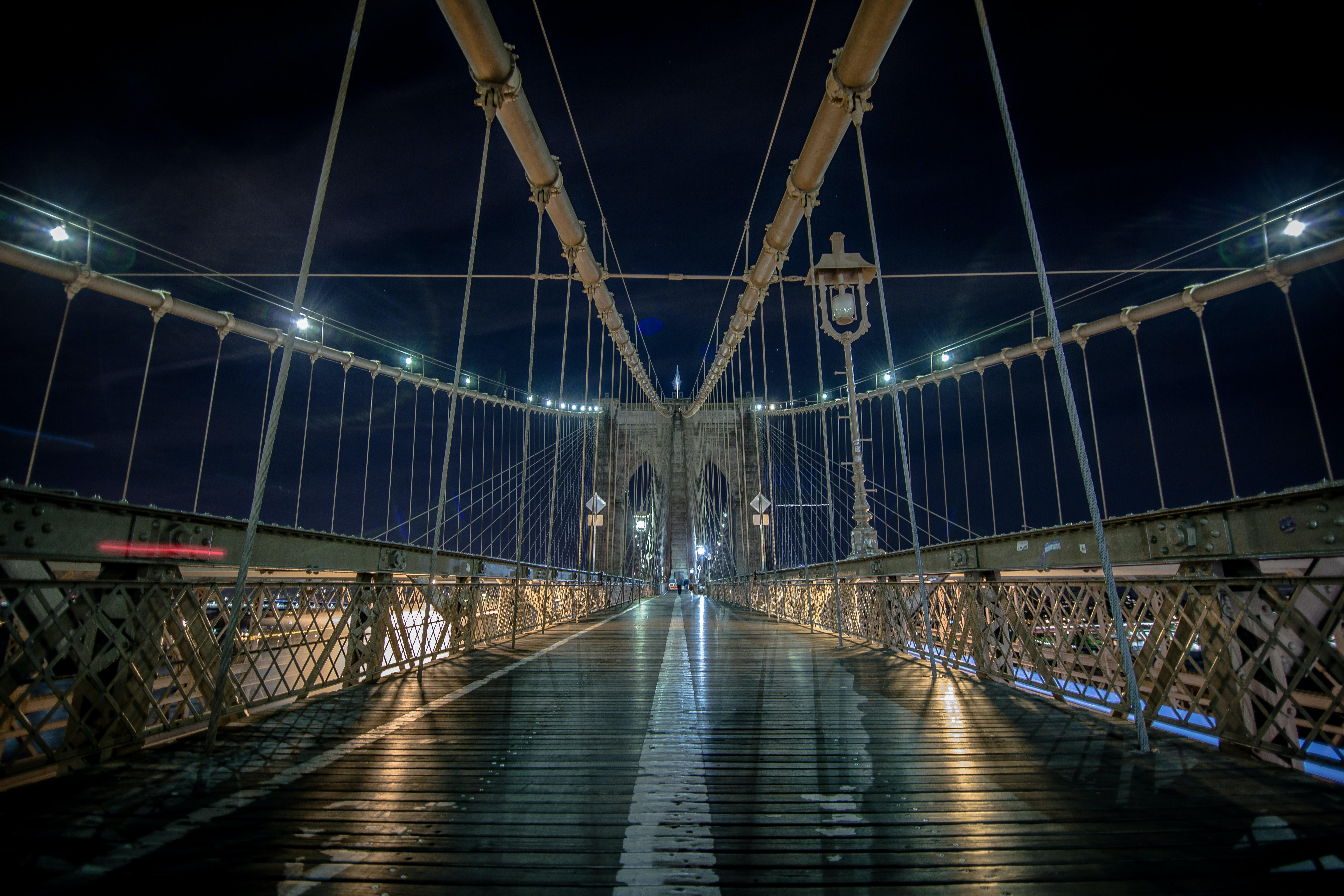 Brooklyn bridge during night time