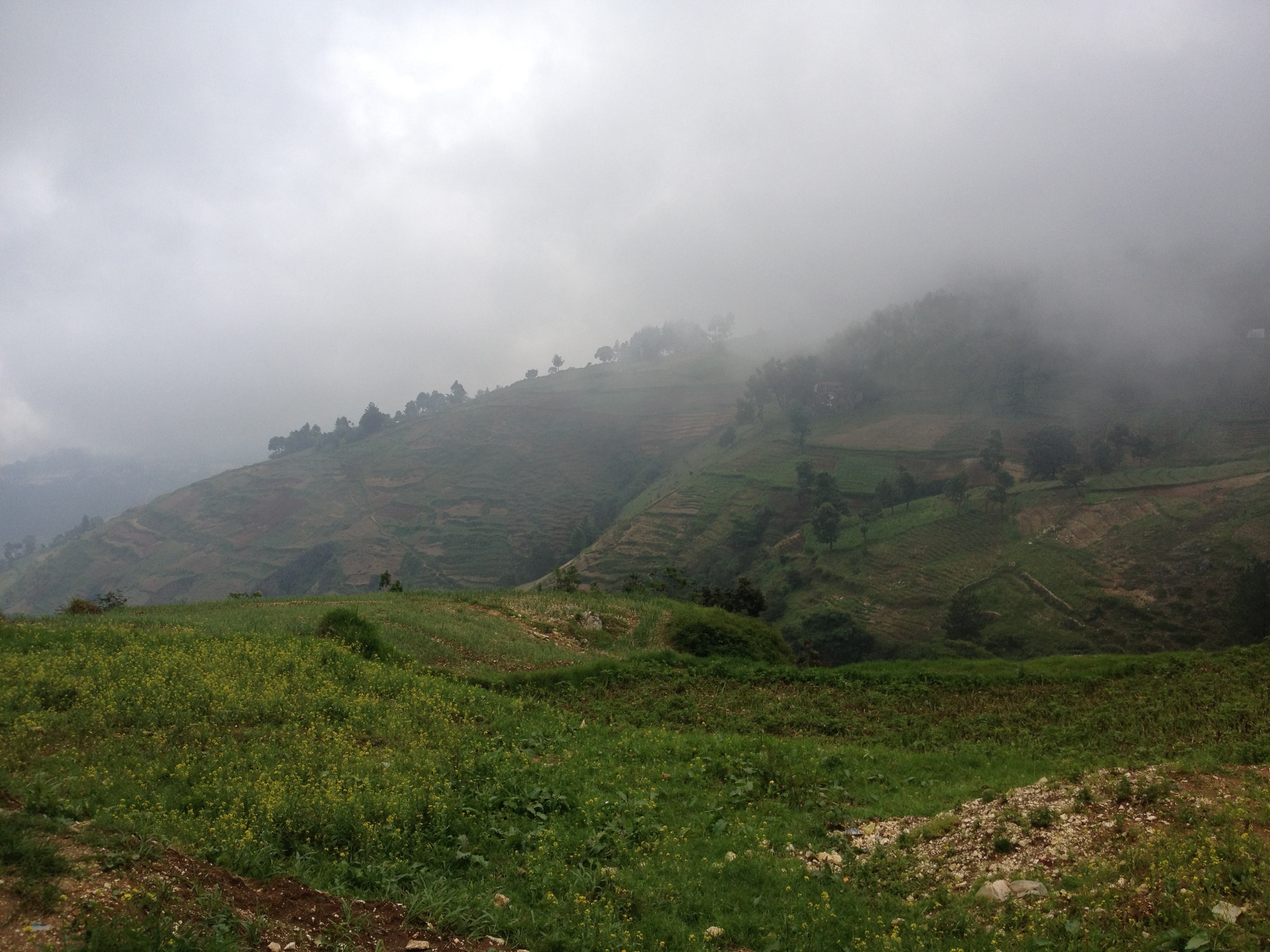 Fog rolling down from hills covered with green and brown vegetation