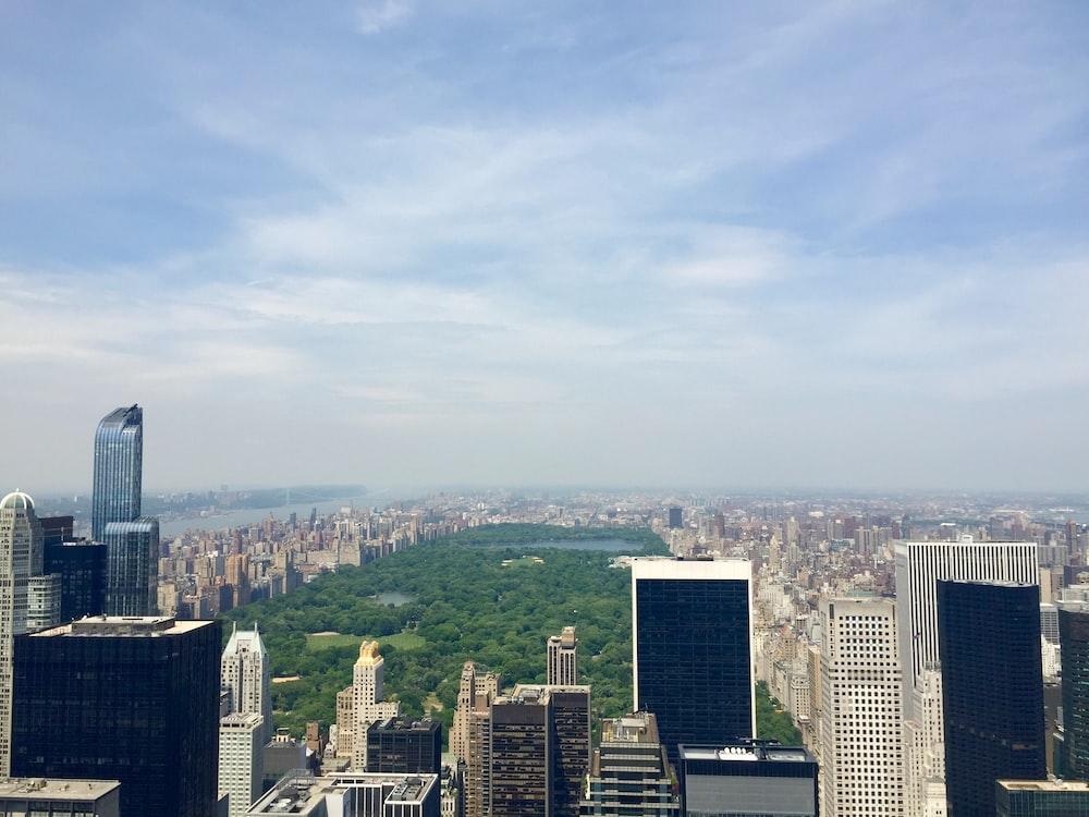 bird's-eye view of city building under cloudy sky