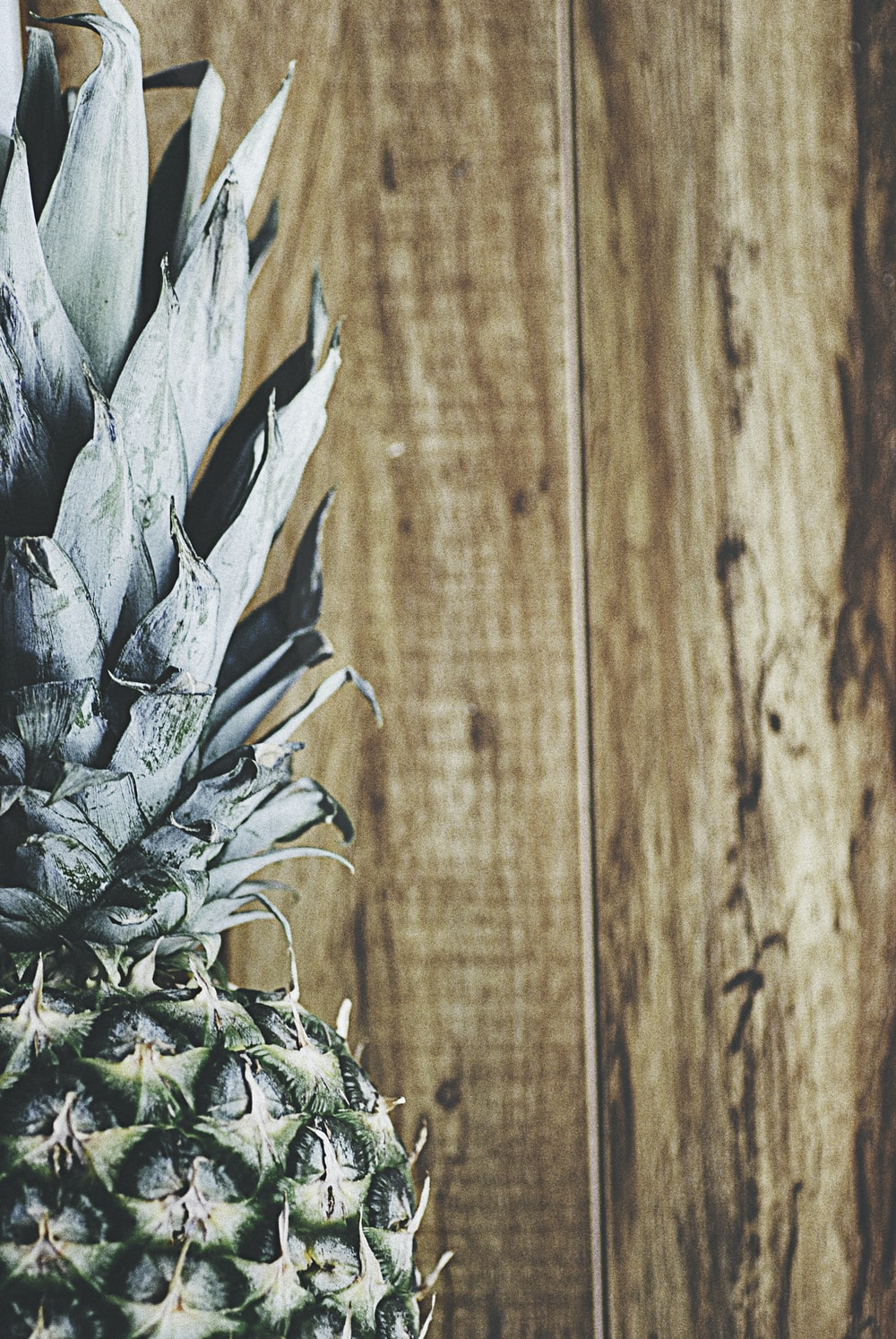 closeup photography of green pineapple and brown wooden planks
