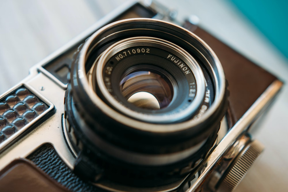 close-up photography of an old film camera