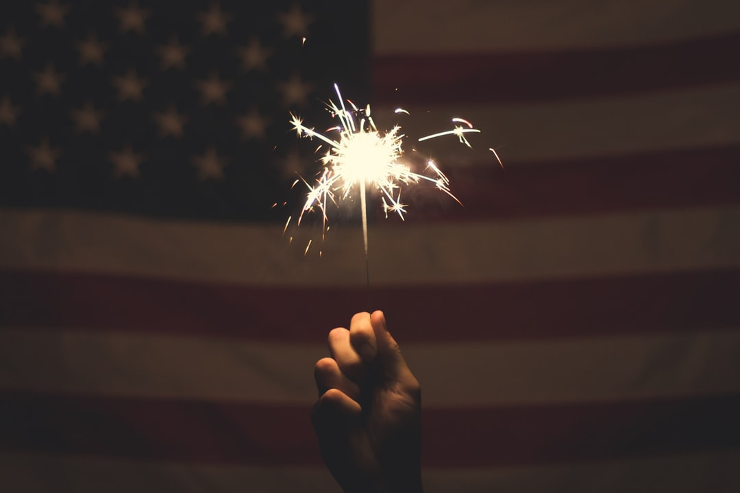American Flag and Sparkler