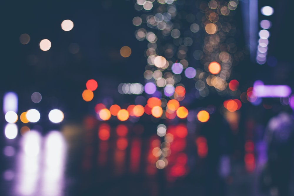 Bokeh effect from street lights at night