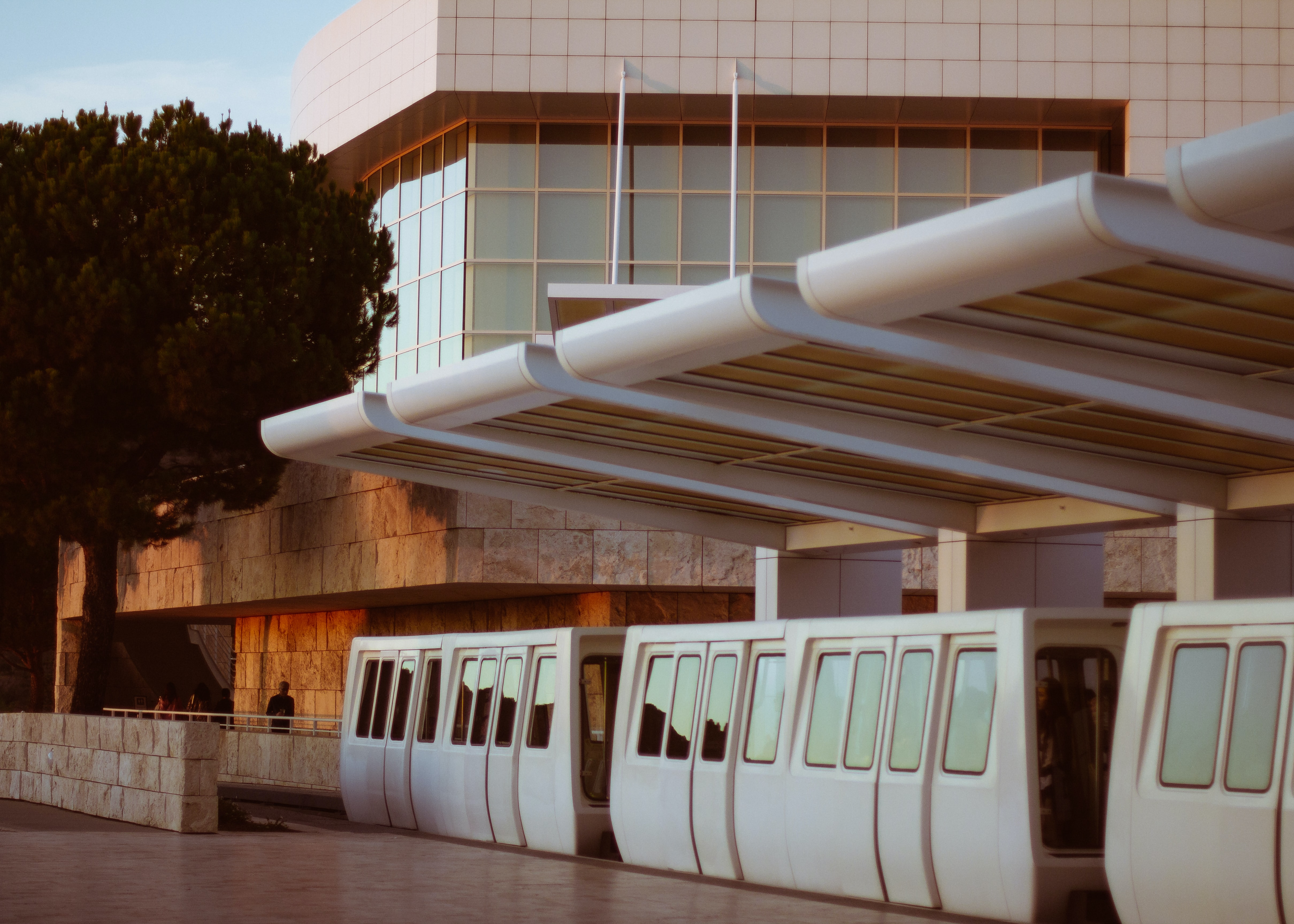 A modern city tram at the Getty Museum