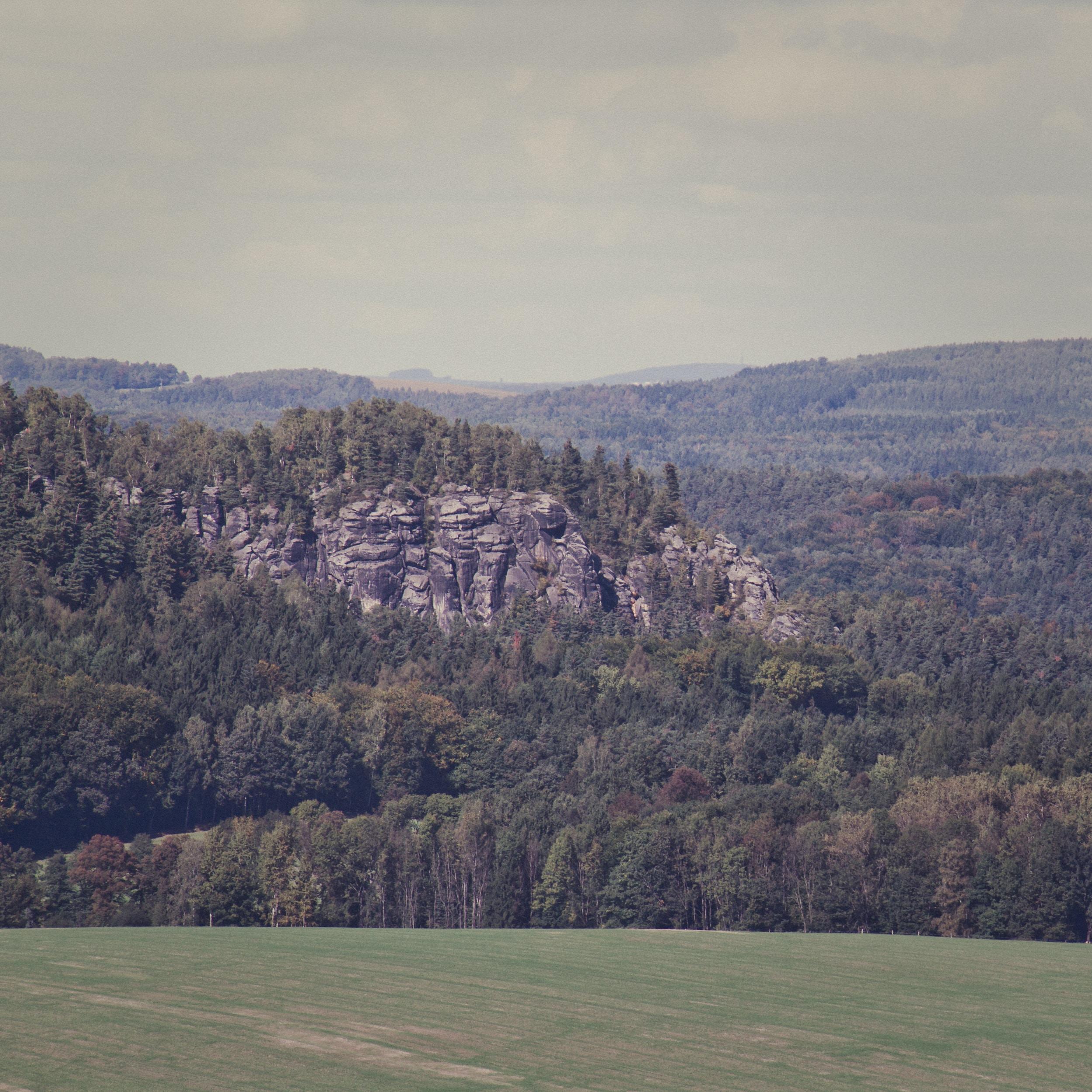 rocky clif near forest range