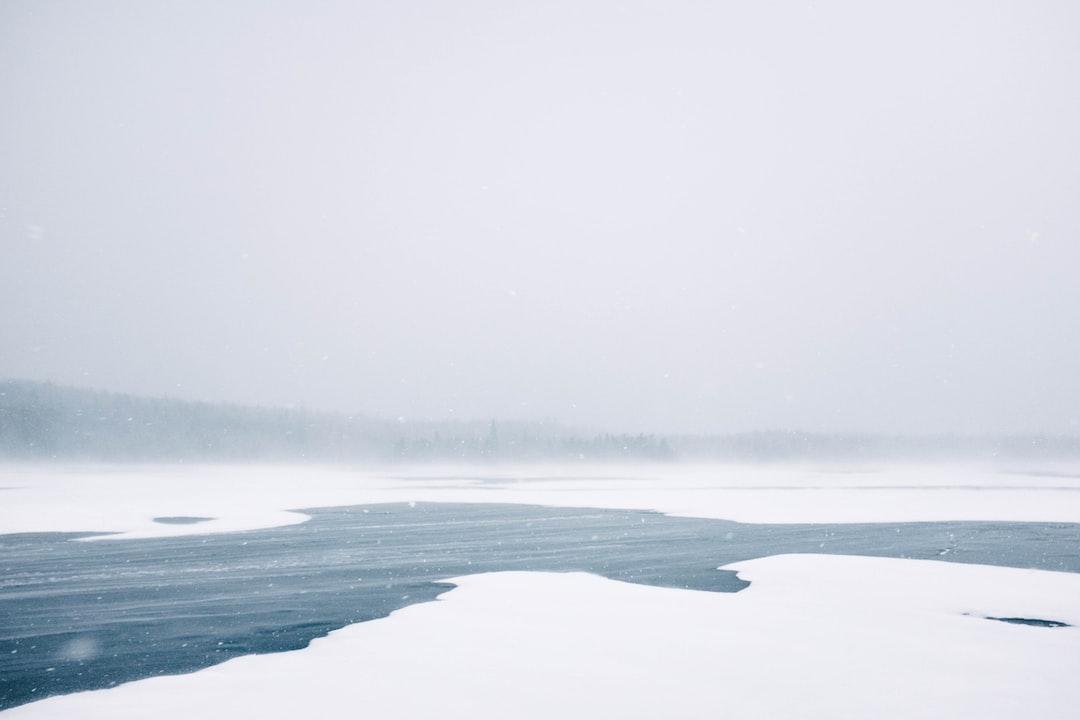 Winter lake in Arctic sea