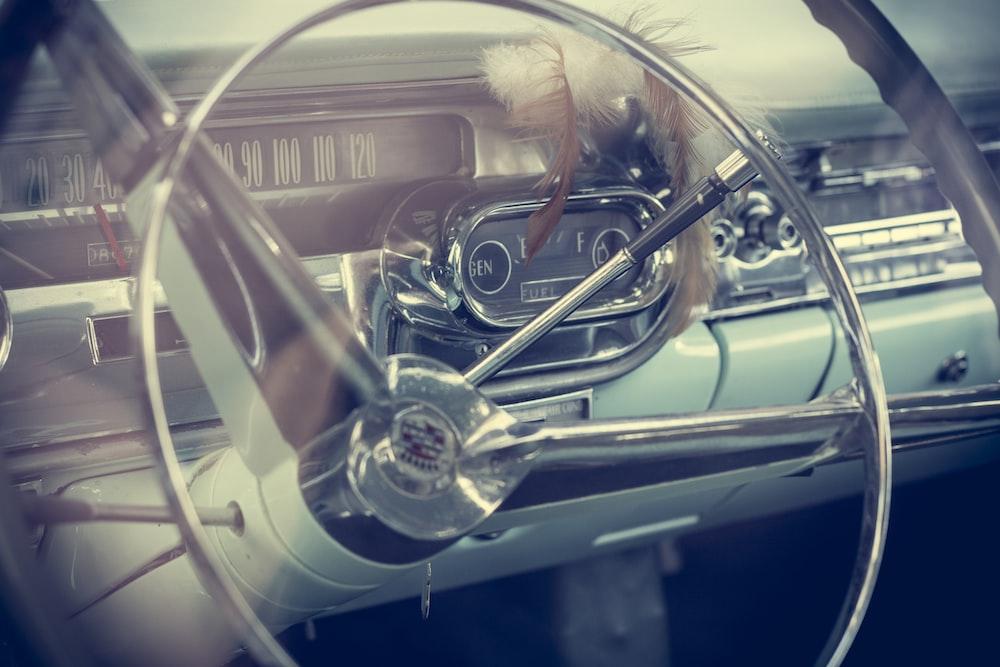 photo of gray vehicle steering wheel