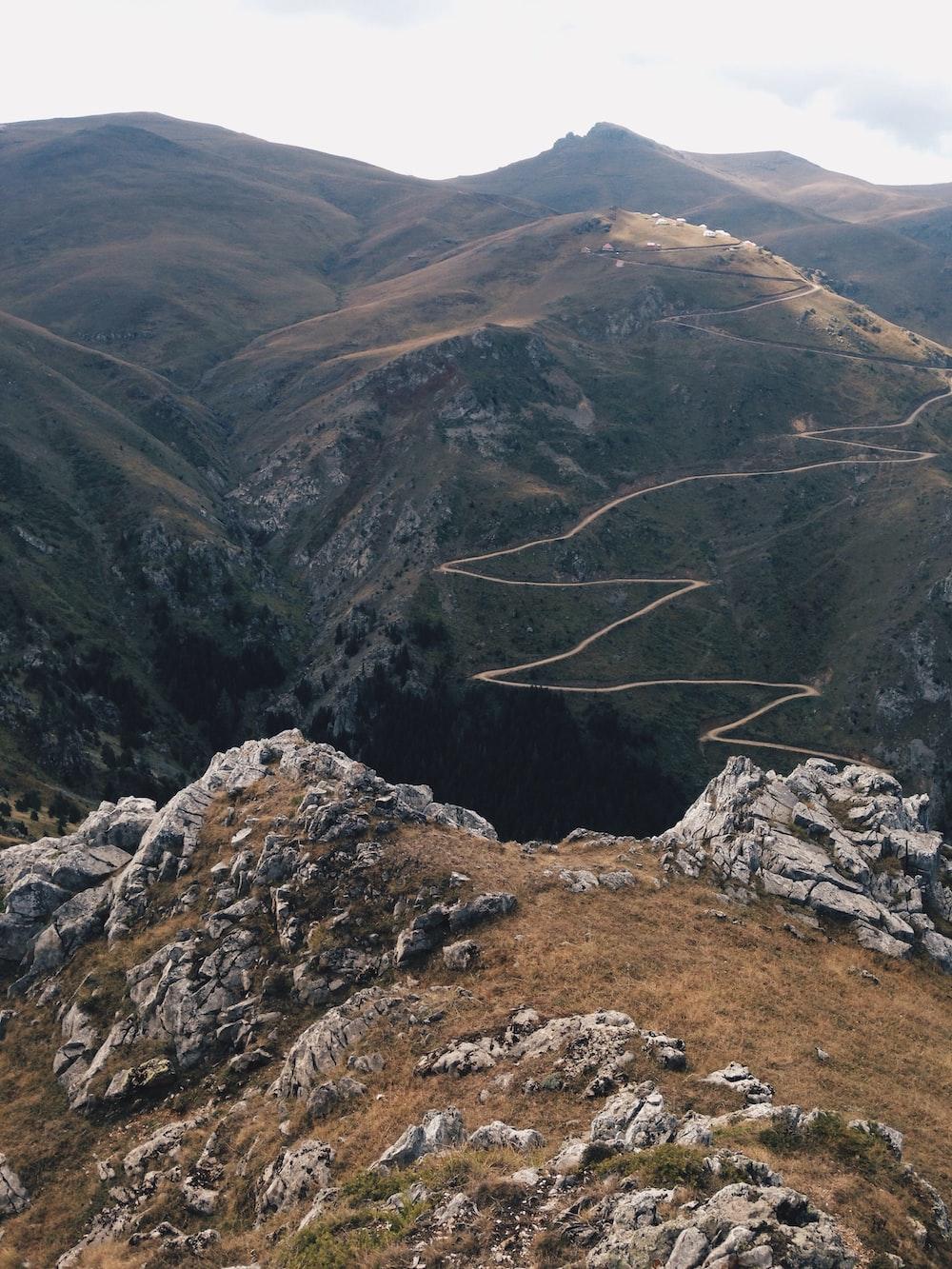 zig-zag road on mountain