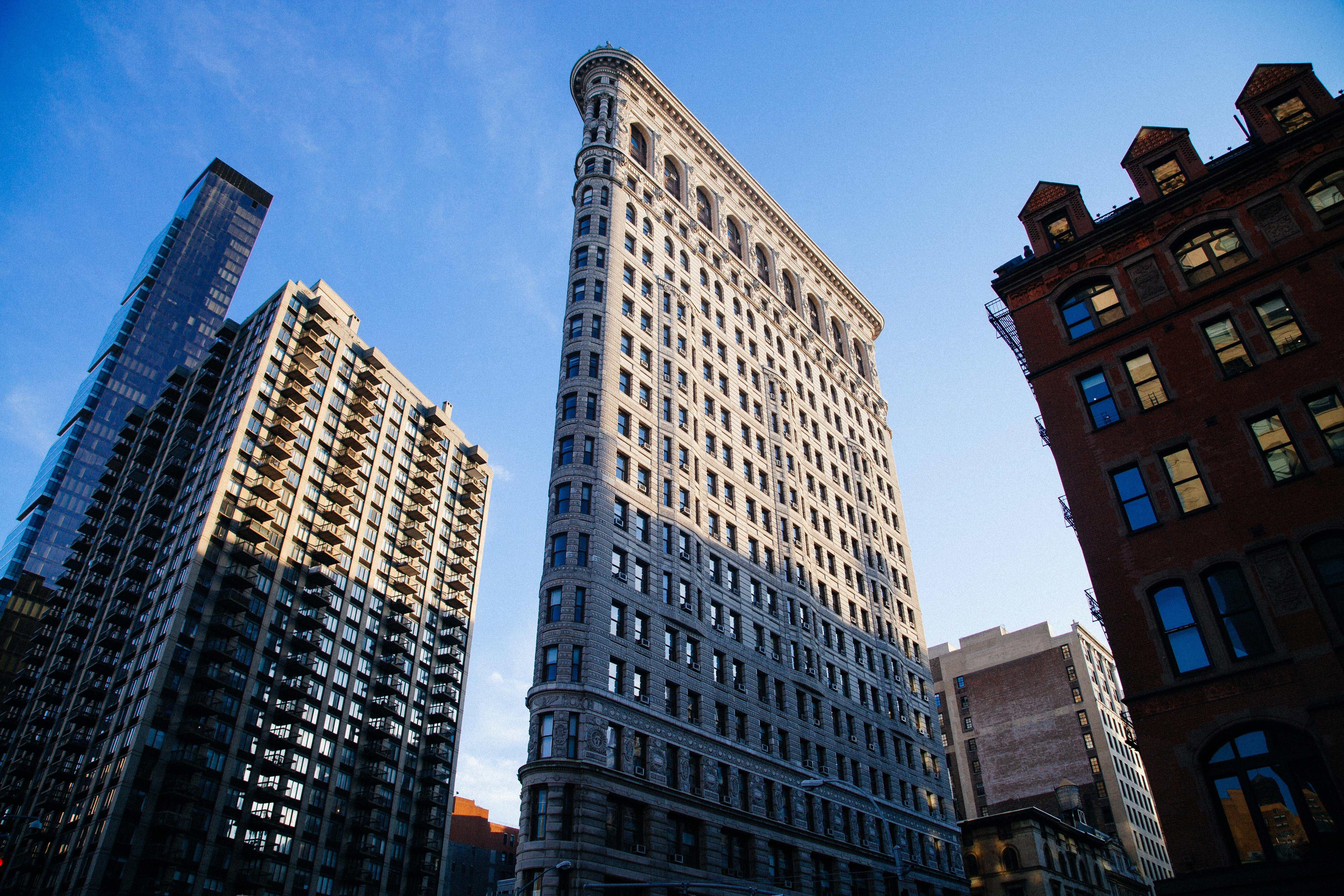 A ground view of the iconic Flatiron building in Manhattan, New York City