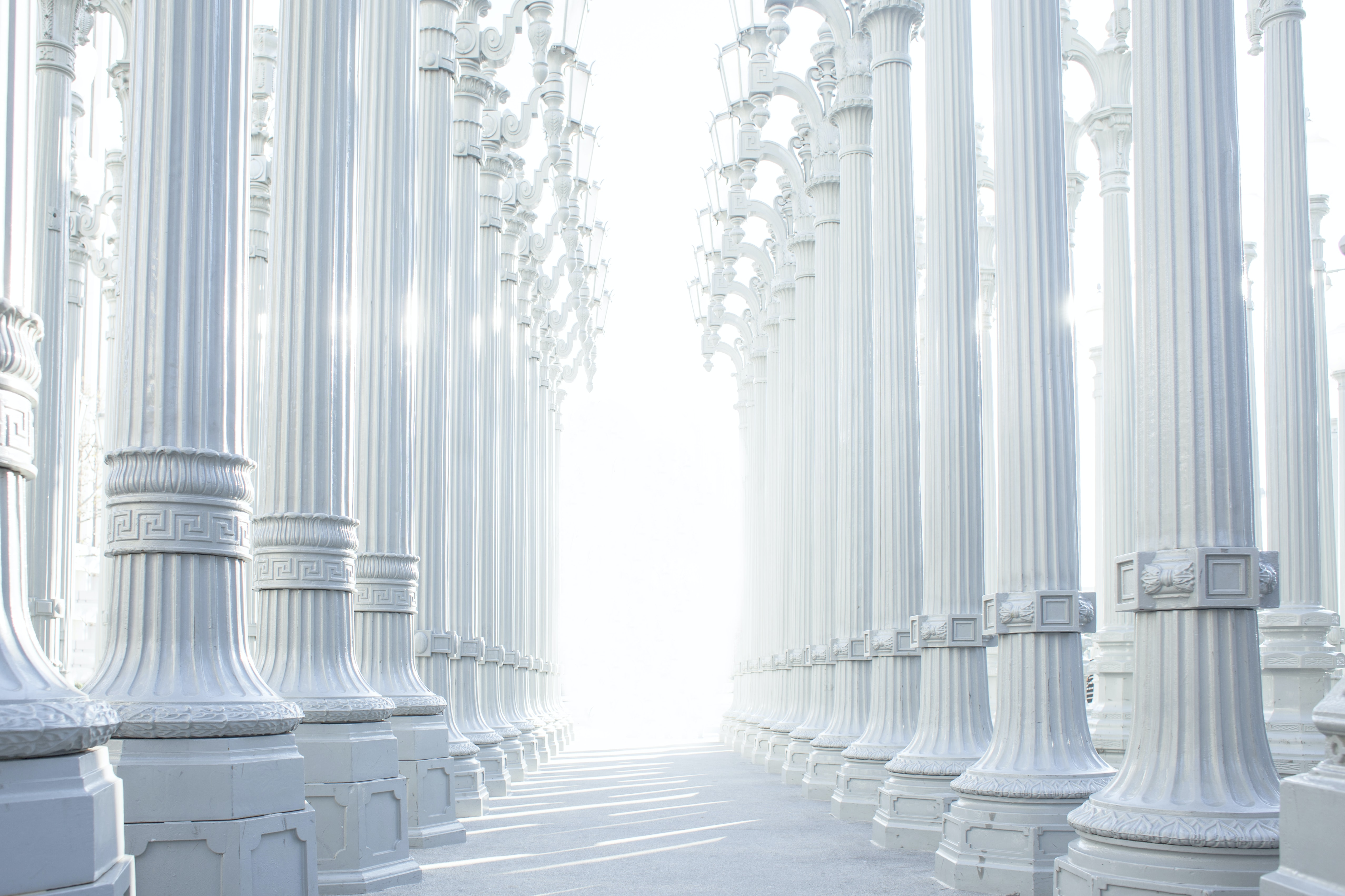 Impressive pillar white architecture with central path and light streaming in